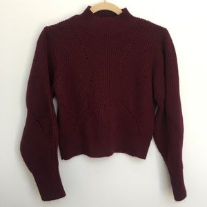 TOPSHOP Maroon Lace Back Mock Neck Sweater